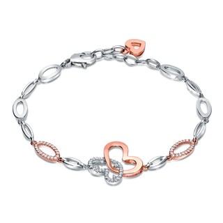 Auriya 14k Two-tone Gold 1/3ct TDW Heart Design Diamond Bracelet (H-I, SI1-SI2)