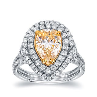 Auriya 18k Two-tone Gold 3ct TDW Certified Natural Fancy Yellow Diamond Pear Double Halo Ring (VS1-VS2)