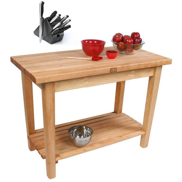 John boos country maple butcher block 48 x 24 kitchen work table and henckels 13 piece knife - Butcher block kitchen table set ...
