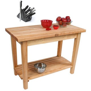 John Boos Country Maple Butcher Block Kitchen Work Table and Bonus 13 Piece Henckels Knife Set