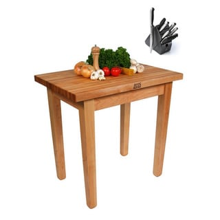 John Boos Country Maple Butcher Block 48 x 24 Work Table and Henckels 13-piece Knife Block Set