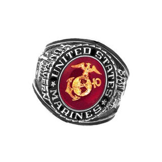 Official US Marines Deluxe Engraved Ruby Crytal Silvertone Ring