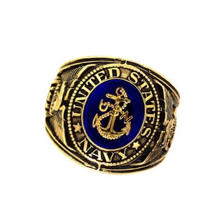 Official US Navy Deluxe Engraved Sapphire Crystal Goldtone Ring