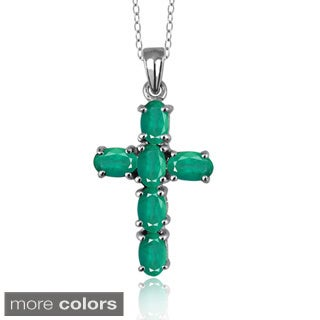Silver Emerald Gemstone Cross Pendant