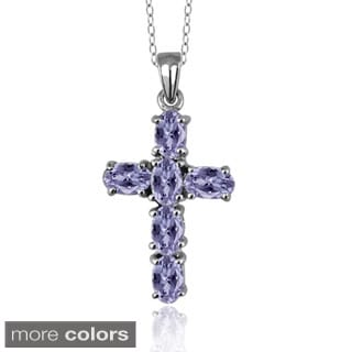 Silver Tanzanite Tanzanite Cross Pendant Necklace