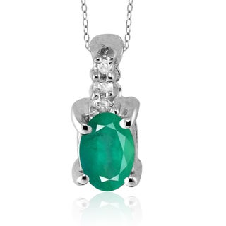 Rhodium-plated Silver Emerald and Diamond Accent Pendant