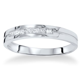 14k White Gold 2/5ct TDW Men's Princess-cut Channel-set Diamond Wedding Band (I-J, I2-I3)