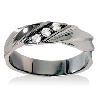 14k Black Rhodium-plated White Gold 1/5ct TDW Men's 3-stone Diamond Wedding Ring (I-J, I2-I3)
