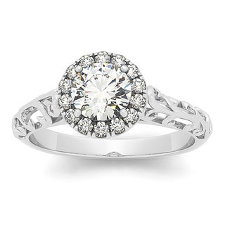 Bliss 14k White Gold 5/8ct TDW Vintage-style Diamond Filigree Engagement Ring (H-I, I2-I3)