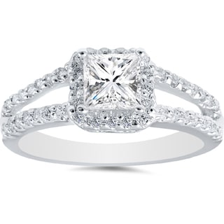 14k White Gold 1ct TDW Princess Diamond Halo Split Shank Engagement Ring (H-I, I2-I3)