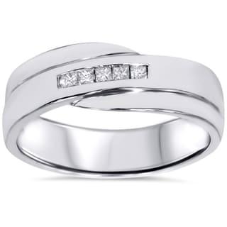 10k White Gold 1/ 6ct TDW Men's Princess-cut Diamond Wedding Ring (I-J, I2-I3)