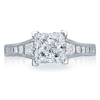 Tacori 18k White Gold 3/4ct TDW Princess Cut Diamond Semi Mount Engagement Ring (G-H,VSSI)