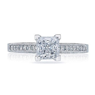 Tacori 18k White Gold 1/3ct TDW Princess Cut Diamond Semi Mount Engagement Ring (G-H, VSSI)