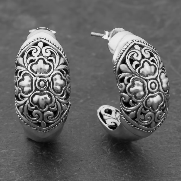Sterling Silver 'Secret Garden' Half Hoop Cawi Earrings (Indonesia)