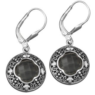Sterling Silver Green Amethyst Cawi Dangle Earrings (Indonesia)