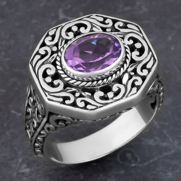 Sterling Silver Amethyst Cawi Cocktail Ring (Indonesia)
