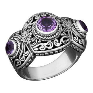 Sterling Silver Amethyst Three Stone Cawi Ring (Indonesia)