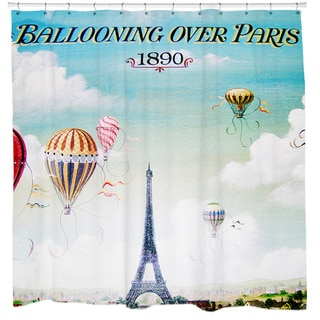 Ballooning Over Paris 1890 Shower Curtain - Light Blue