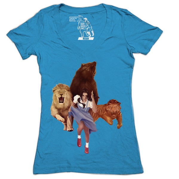 Women's Lion Tiger Bear V-neck T-shirt