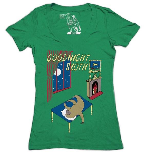 Women's Goodnight Sloth V-neck T-shirt