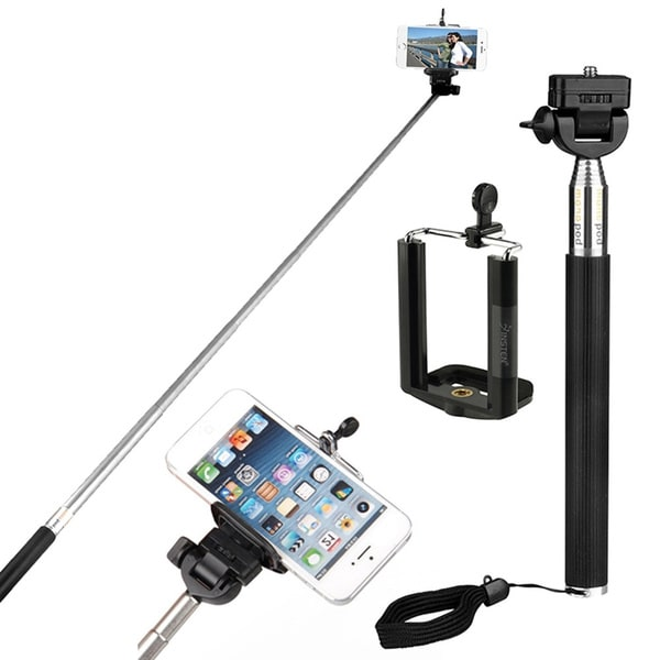 Insten Extendable Handheld Monopod Self-portrait Selfie Stick Holder Kit for Cameras, Apple iPhone 6/ 6+, Samsung