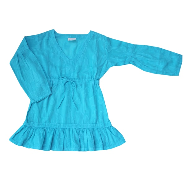 Azul Swimwear Girls 'Shanti' Turquoise Long Sleeve Tunic