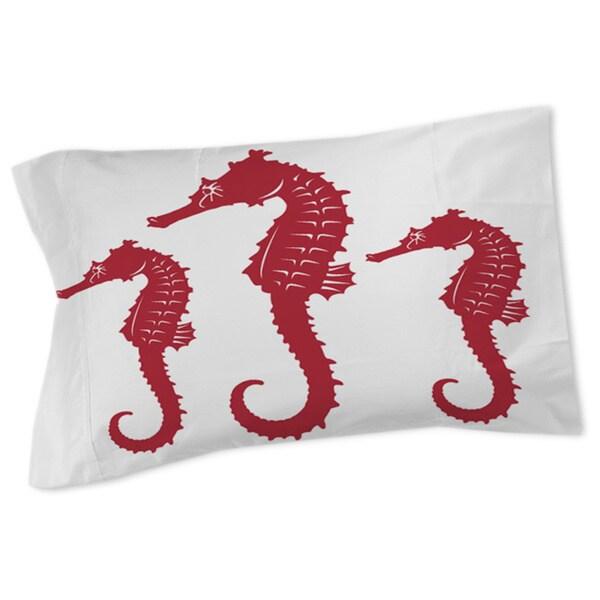 Thumbprintz Nautical Nonsense Red White Seahorses Sham