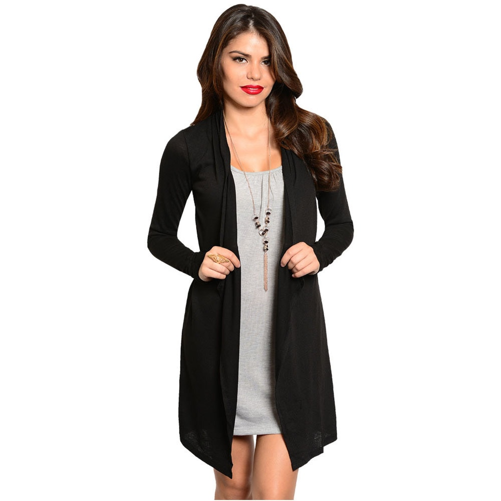Feellib Women's Long Sleeve Two-Piece Dress With Open Front Cardigan Design | Overstock.com Shopping - The Best Deals on Casual Dresses