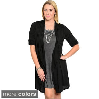 Shop The Trends Women's Plus Size Quarter Sleeve Two-Piece Short Dress With Open Front Design And Inner Layer