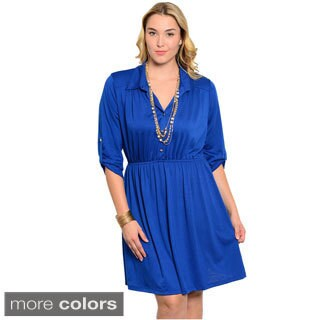 Feellib Women's Plus Size Quarter Sleeve Knit Short Dress