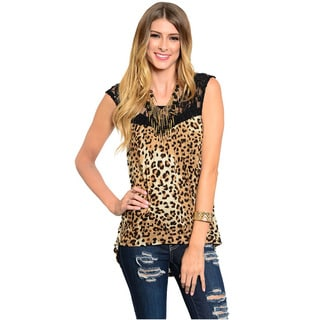 Feellib Women's Sleeveless Hi-Low Top With Allover Leopard Print And Sheer Floral Lace Yoke