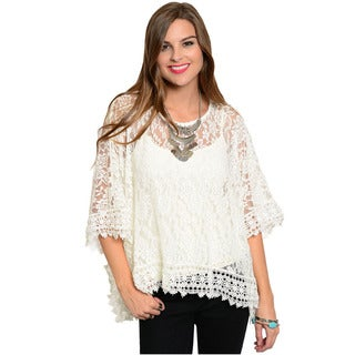 Feellib Women's Quarter Sleeve Oversized Floral Lace Top