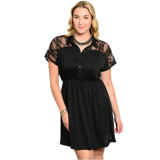 Shop The Trends Women's Plus Size Sheer Floral Lace Short Dress