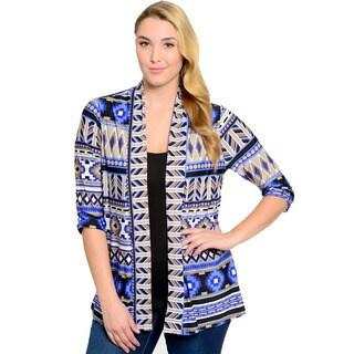 Feellib Women's Plus Size Cardigan Aztec Theme Print