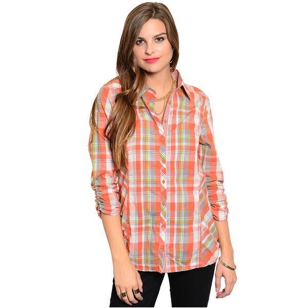 Shop The Trends Women's Ruched Quarter Sleeve Button Down Top With Allover Plaid Print