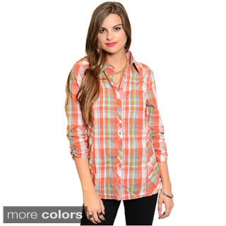 Feellib Women's Ruched Quarter Sleeve Button Down Top With Allover Plaid Print