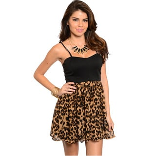 Shop The Trends Women's Spaghetti Strap Dress With Leopard Printed Skirt