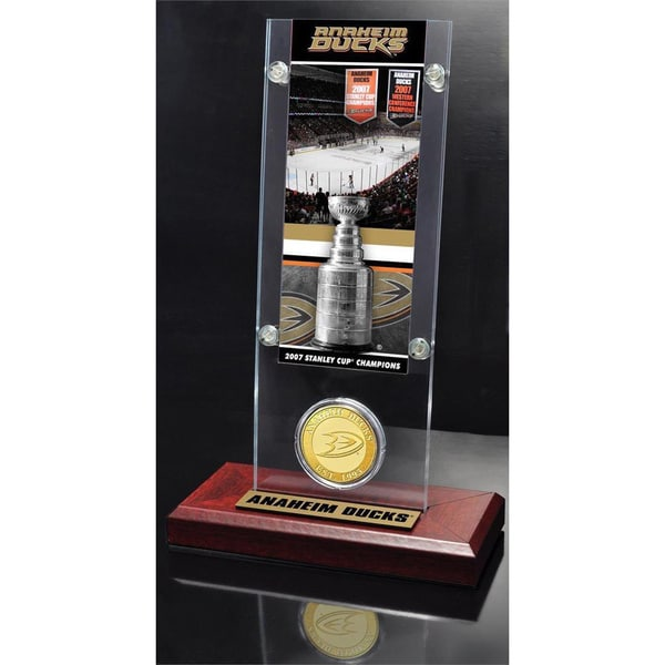 NHL Anaheim Ducks Anaheim Ducks Stanley Cup Champions Ticket and Bronze Coin Acrylic Display 14236236