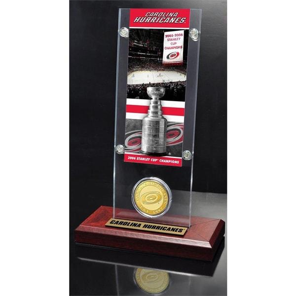 NHL Carolina Hurricanes Carolina Hurricanes Stanley Cup Champions Ticket and Bronze Coin Acrylic Display 14236251