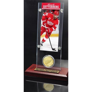 NHL Detroit Red Wings Henrik Zetterberg Ticket and Bronze Coin Desktop Acrylic Display