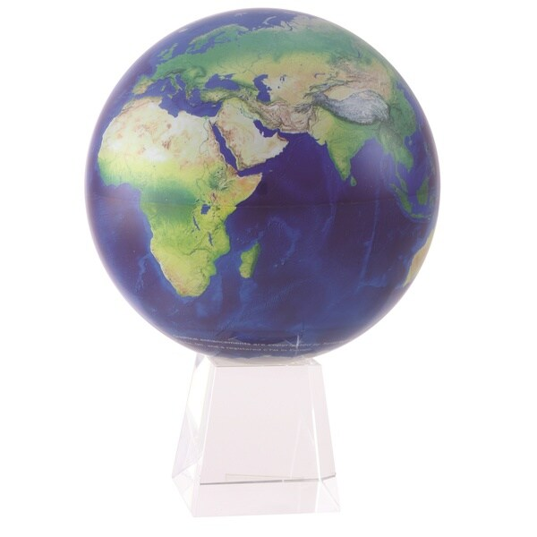 8.5-inch Satellite Natural Earth - Solar Powered MOVA Desktop Globe with Crystal Base