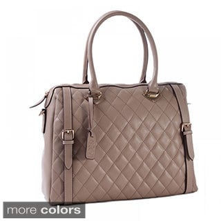 Eastide Diamond-stitched Leather Tote Bag