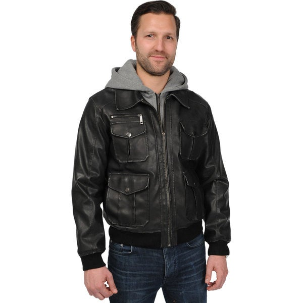 Men's Big and Tall 'Rogue State' PU Hooded Jacket
