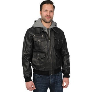 Excelled Men's Big and Tall 'Rogue State' PU Hooded Jacket