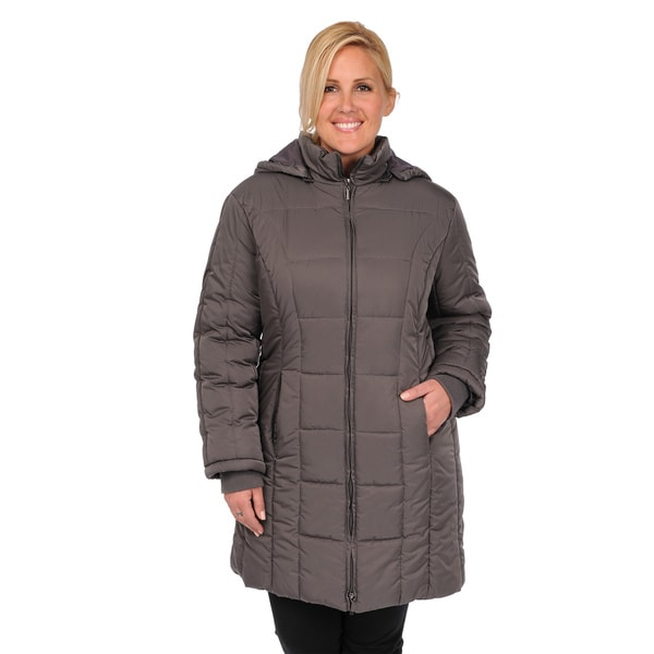 EXcelled Plus Poly Quilted Knee Length Puffer with Detachable Hood