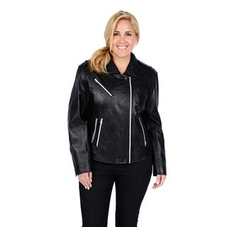 Excelled Women's Plus Size Black Leather Belted Motorcycle Jacket