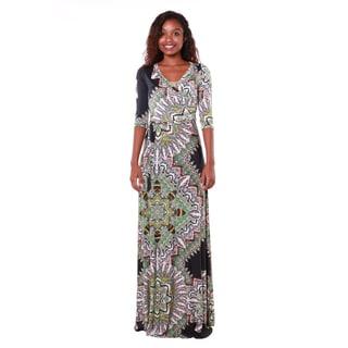 Hadari Women's Multicolored Pattern Maxi Dress