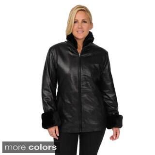 EXcelled Women's Plus Size Lambskin Scuba Jacket