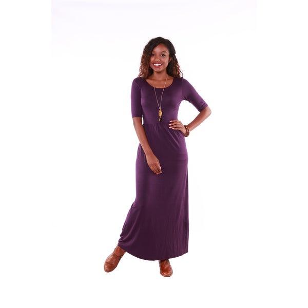 Hadari Women's Short Sleeve Maxi Dress