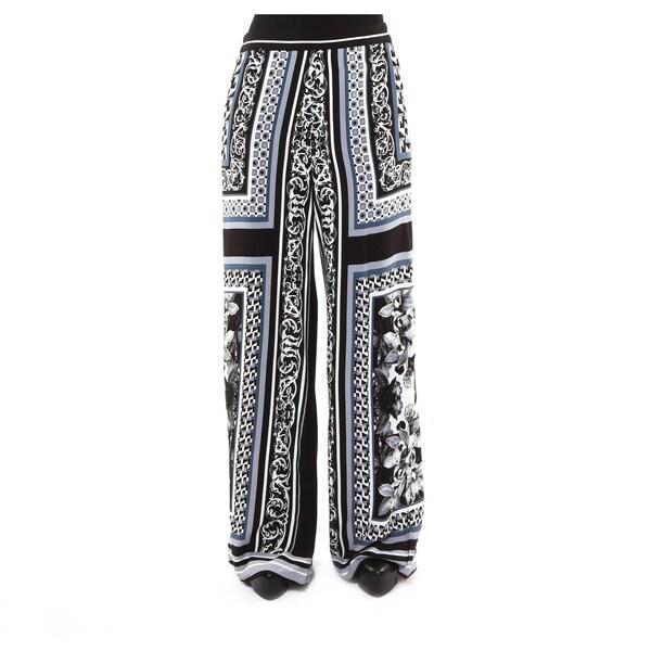 Hadari Women's Black and Grey Casual Wide-leg Pants